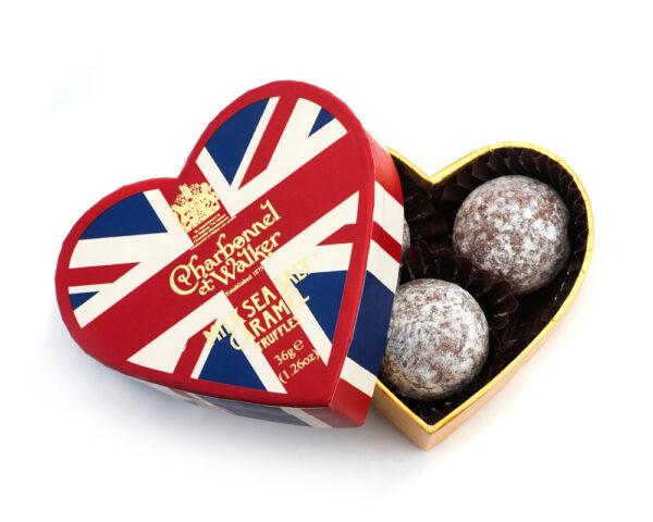 Milk Sea Salt Caramel Chocolate Truffles - Union Jack Mini Heart